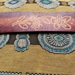 Stamped leather belt with brass buckle S